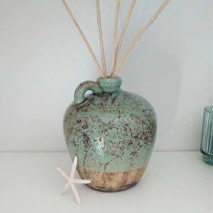 Ton Vase türkis klein